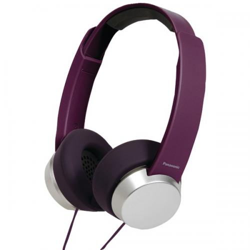 PANASONIC RP-HXD3W-V Lightweight StreetStyle Monitor Headphones with Microphone & Remote (Purple/Silver)