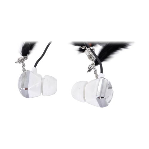 Original Pastry Universal Stereo Earbuds w/ Bling & Feathers - Black (3.5mm)
