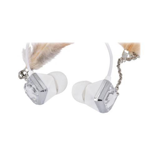 Original Pastry Stereo Earbuds w/ Bling & Feathers - Light Brown (3.5mm)