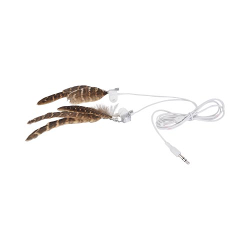 Original Pastry Universal Stereo Earbuds w/ Bling & Feathers - Dark Brown w/ Light Brown Highlights (3.5mm)