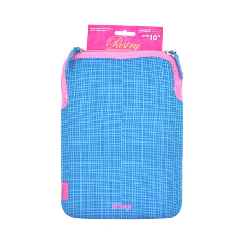 "Original Pastry Universal (Up to 10.1"" Tablets like Apple iPad 4/ Samsung Galaxy Tab 3 10.1) Neoprene Sleeve Case - Blue Stripes w/ Baby Pink Zipper"