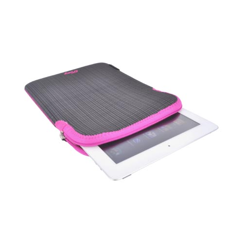 "Original Pastry Universal (Up to 10.1"" Tablets like Apple iPad 4/ Samsung Galaxy Tab 3 10.1) Neoprene Sleeve Case - Black Stripes w/ Hot Pink Zipper"
