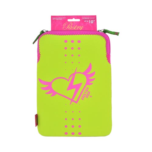 "Original Pastry Universal (Up to 10.1"" Tablets like Apple iPad 4/ Samsung Galaxy Tab 3 10.1) Neoprene Sleeve Case - Lime Green w/ Hot Pink Winged Heart"