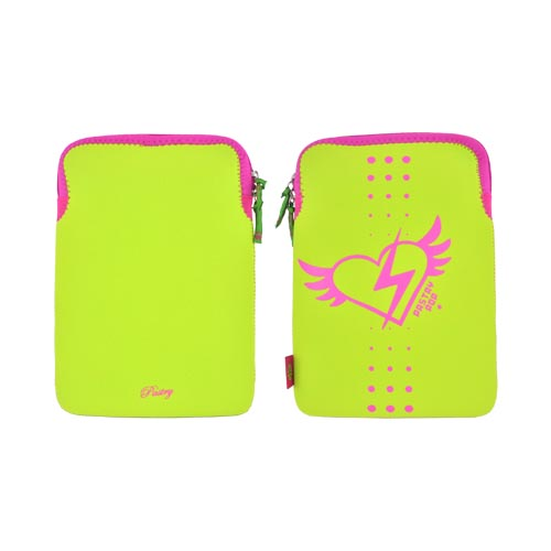 "Original Pastry (Up to 10.1"" Tablets like Apple iPad 4/ Samsung Galaxy Tab 3 10.1) Neoprene Sleeve Case - Lime Green w/ Hot Pink Winged Heart"