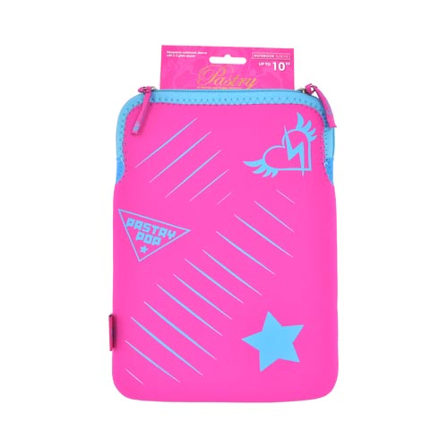 "Original Pastry Universal (Up to 10.1"" Tablets like Apple iPad 4/ Samsung Galaxy Tab 3 10.1) Neoprene Sleeve Case - Magenta w/ Blue and Turquoise Heart and Star"