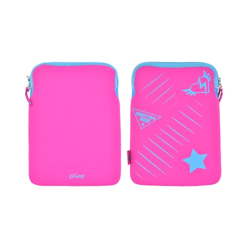 "Pastry (up To 10.1"" Tablets Like Apple Ipad 2/ Samsung Galaxy Tab 10.1) Neoprene Sleeve Case - Magenta W/ Blue And Turquoise Heart And Star"
