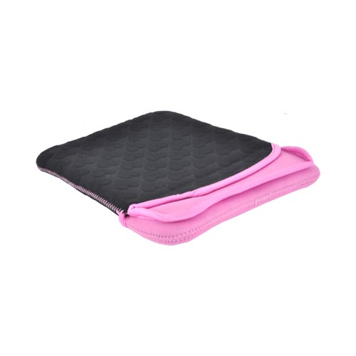 Original Pastry Apple iPad (All Gen.) Neoprene Embossed Hearts Tablet Hoodie - Black/ Hot Pink