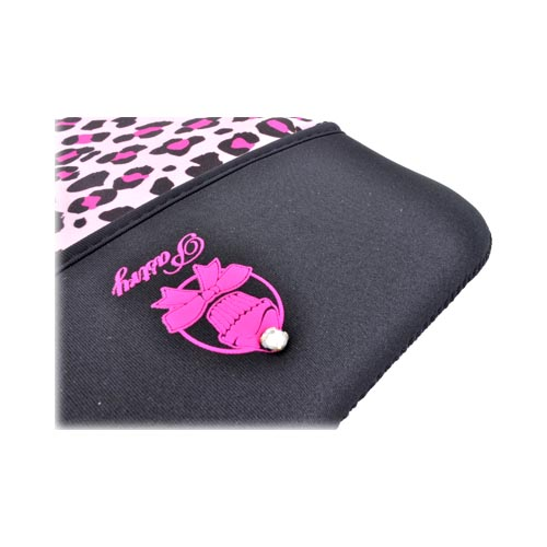 Original Pastry Apple iPad (All Gen.) Neoprene Animal Print Tablet Hoodie w/ Wrist Strap - Pink/ Black Leopard
