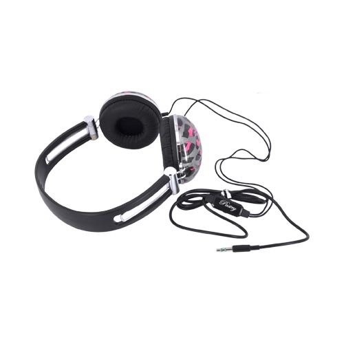 Original Pastry Headphones w/ Ear Cushions (3.5mm) - Hot Pink/ Black/ Gray Leopard