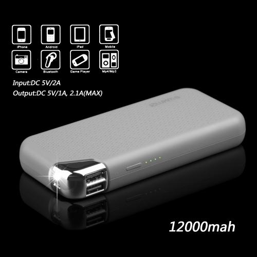 Universal High Capacity [12000mAh] Smart Power Bank Battery Charger w/ Dual USB Ports [Gray] - Charge Your Tablet or Phone!