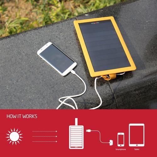 [Apollon] Compact & Luxurious [5W/1A] P5 Portable Solar Charger W/ USB Port & Premium Genuine Leather Cover [Mustard]