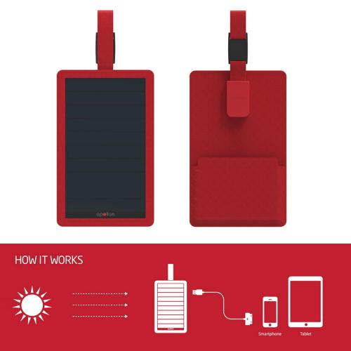 [Apollon] Compact & Luxurious [5W/1A] P5 Portable Solar Charger W/ USB Port & Premium Genuine Leather Cover [Red]