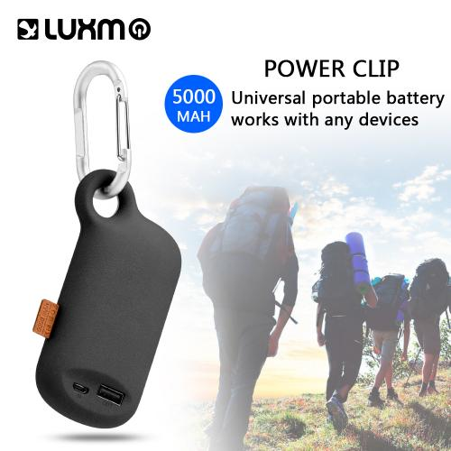 Universal 5000 mAh Portable Power Bank Charger w/ Carabiner Clip [Black]