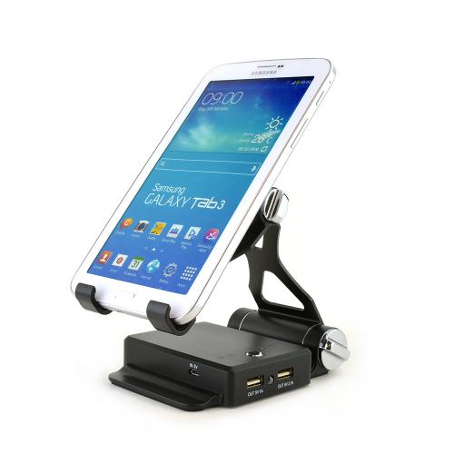 Black Universal Portable Powerbank (9A) w/ 2 USB Ports & Adjustable Stand for Phones & Tablets