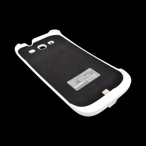 Samsung Galaxy S3 Hard Charging Case w/ LED Power Indicator - White w/ Carbon Fiber Design
