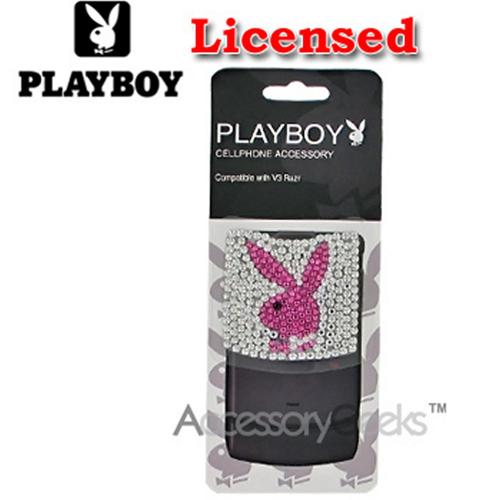 Licensed Playboy Motorola RAZR V3 Bling Bling Sticker - Pink Bunny on Clear