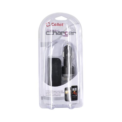 Cellet Premium Micro USB 4 in 1 Car Charger, Data Cable, Travel Charger - Black (BLACKBERRY & MOTOROLA DROID NOT COMPATIBLE)