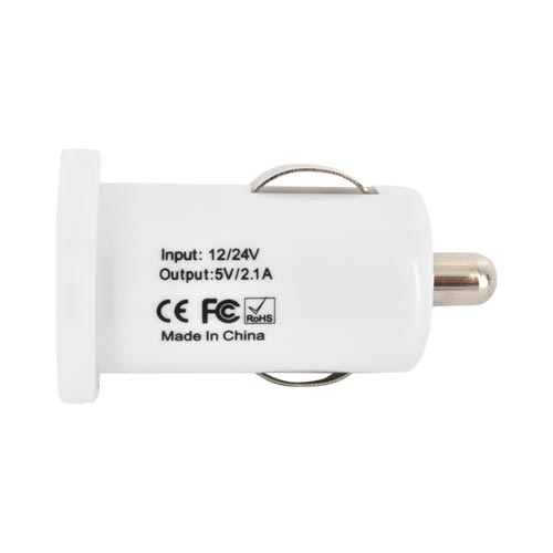 Universal USB Colored Miniature Car Charger Adapter (2100 mAh) - White