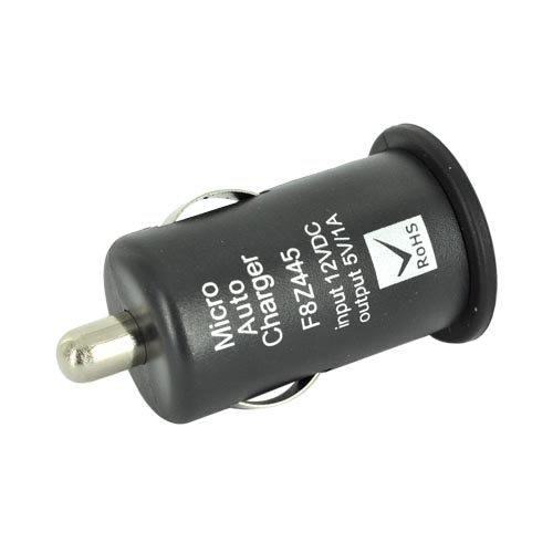 Universal USB Miniature Colored Car Charger Adapter (1000 mAh) - Black