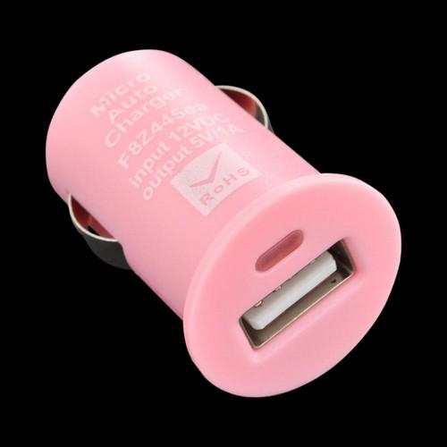 Universal USB Miniature Colored Car Charger Adapter (1000 mAh) - Baby Pink