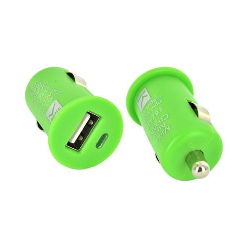 Universal USB Miniature Colored Car Charger Adapter (1000 mAh) - Green