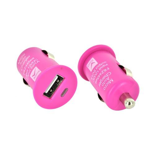 Universal USB Miniature Colored Car Charger Adapter (1000 mAh) - Hot Pink
