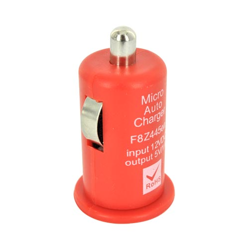 Universal USB Miniature Colored Car Charger Adapter (1000 mAh) - Red