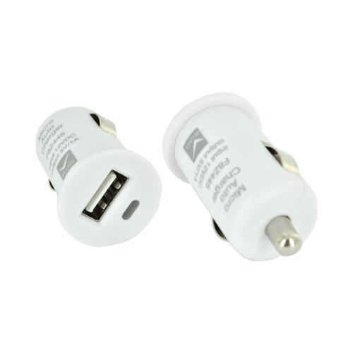Universal USB Miniature Colored Car Charger Adapter (1000 mAh) - White