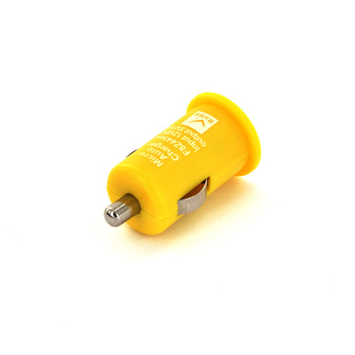 USB Miniature Colored Car Charger Adapter (1000 mAh) - Yellow