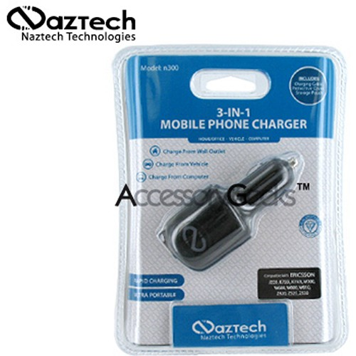 Naztech n300 3-in-1 Cell Phone Charger (Sony Ericsson K750)