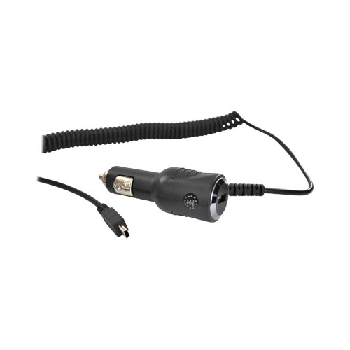 Premium Mini USB Type Car Charger w/ USB Port (11ft.)