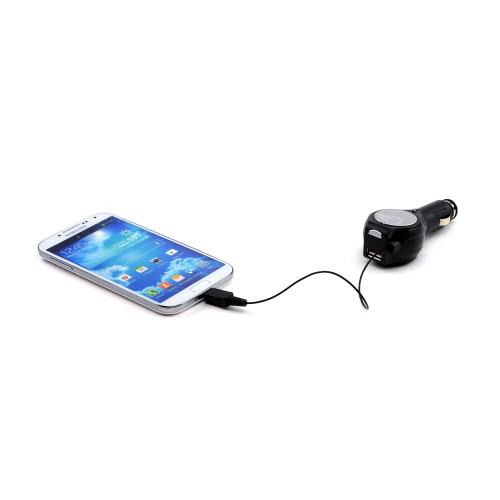 Black Micro USB Retractable Car Charger w/ USB Port