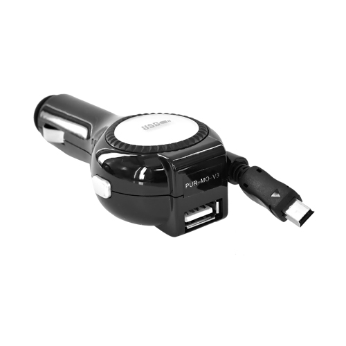 Motorola Mini USB Retractable Vehicle Charger W/ USB Port