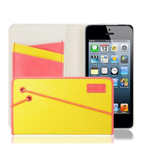 Apple iPhone SE / 5 / 5S  Case, MobC [Yellow/Melon Pink] Bandingbook Series Featuring Faux Leather with Elastic Closure w/ Free Screen Protector