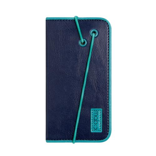 [Apple iPhone SE/5/5S] Case, MobC [Navy/ Turquoise] Bandingbook Series Featuring Faux Leather with Elastic Closure w/ Free Screen Protector