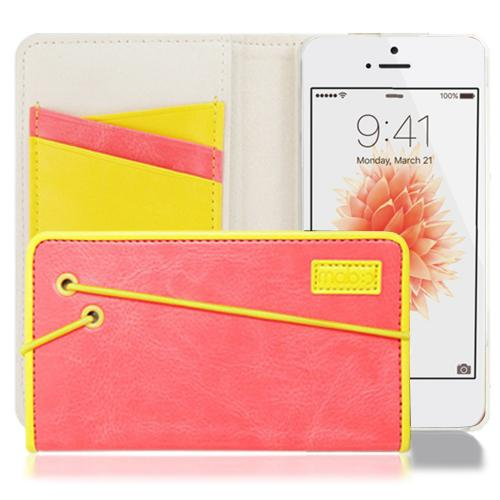 [Apple iPhone SE/5/5S] Case, MobC [Melon Pink/Yellow] Bandingbook Series Featuring Faux Leather with Elastic Closure w/ Free Screen Protector