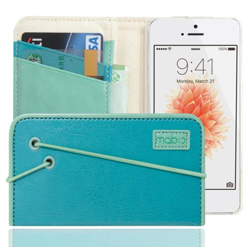 [Apple iPhone SE/5/5S] Case, MobC [Turquoise/Mint] Bandingbook Series Featuring Faux Leather with Elastic Closure w/ Free Screen Protector