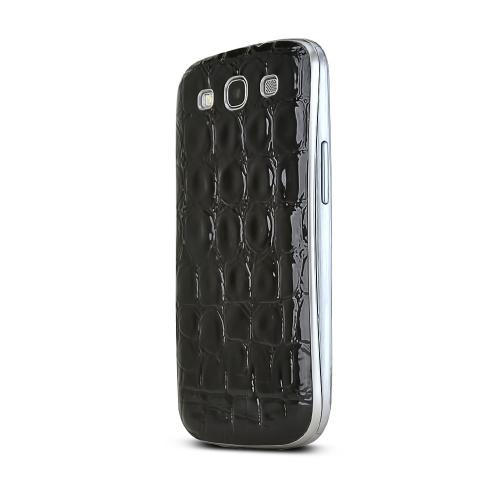 Black Glossy Alligator Samsung Galaxy S3 Leather Textured Battery Door Case
