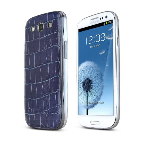 Blue Alligator Samsung Galaxy S3 Leather Textured Battery Door Case
