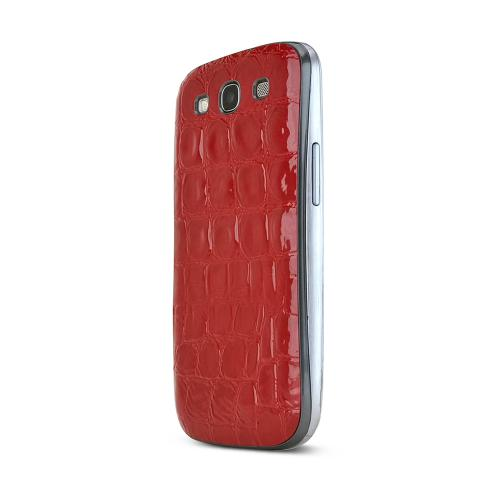 Red Glossy Alligator Samsung Galaxy S3 Leather Textured Battery Door Case