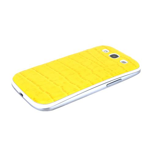 Yellow Glossy Alligator Samsung Galaxy S3 Leather Textured Battery Door Case