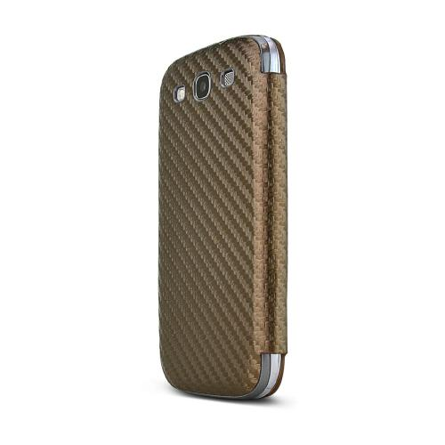 Brown Carbon Fiber Design Samsung Galaxy S3 Textured Diary Flip Battery Door Case