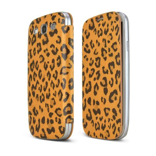 Brown/ Black Leopard Samsung Galaxy S3 Leather Textured Diary Flip Battery Door Case