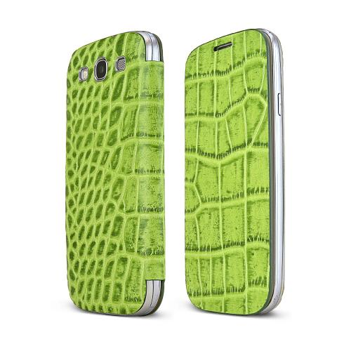 Samsung Light Green Alligator Galaxy S3 Leather Textured Diary Flip Battery Door Case