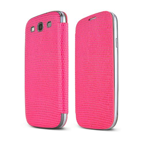 Hot Pink Alligator Samsung Galaxy S3 Leather Textured Diary Flip Battery Door Case