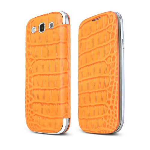 Samsung Orange Alligator Galaxy S3 Leather Textured Diary Flip Battery Door Case