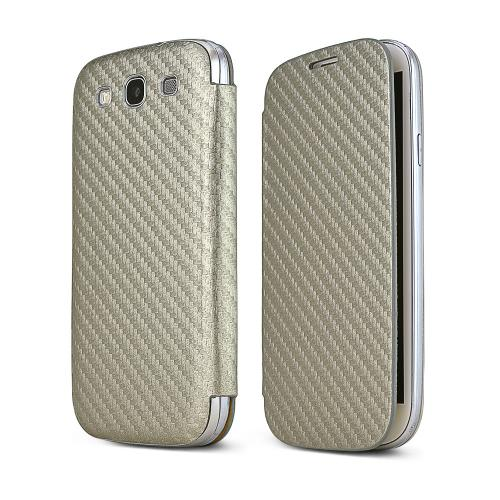 Silver Carbon Fiber Design Samsung Galaxy S3 Textured Diary Flip Battery Door Case