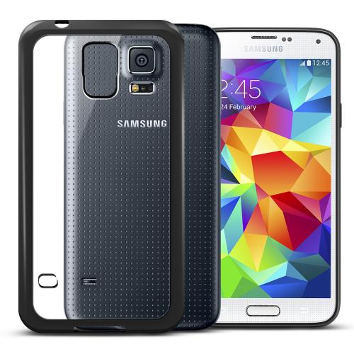 Manufacturers Samsung Galaxy S5 Case | Clear Hard Back w/ Impact Absorbing TPU Bumper [Black] Skins