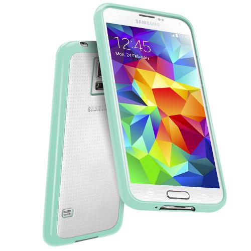 Samsung Galaxy S5 Case | Clear Hard Back w/ Impact Absorbing TPU Bumper [Mint]