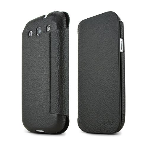 MobC Black Samsung Galaxy S3 C.Pocket Hard Cover Diary Case w/ Suede Interior & ID Slots